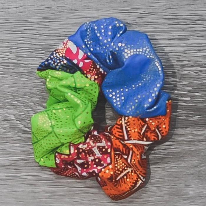 Chouchou cheveux - motifs africain vert