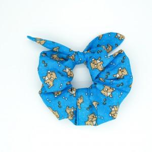Chouchou cheveux - motif chiens sur fond bleu
