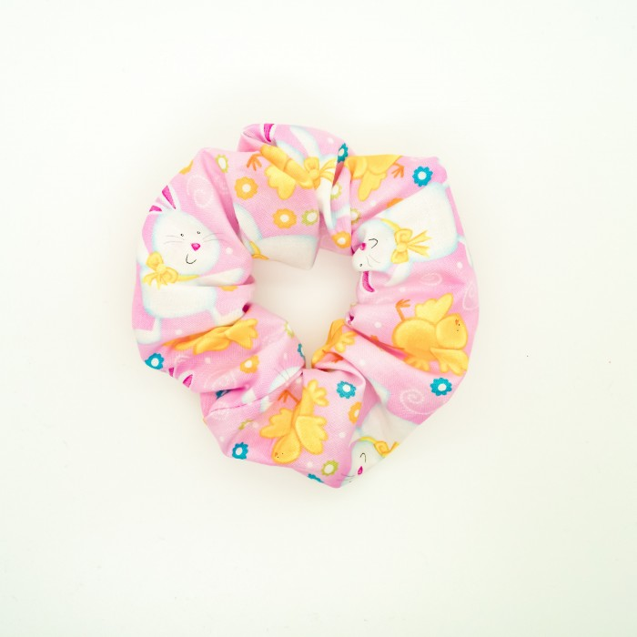 Chouchou cheveux - motif lapins sur fond rose