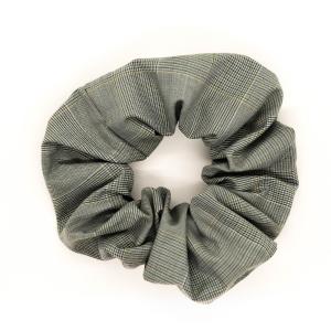 Chouchou cheveux - motif carreaux gris vert