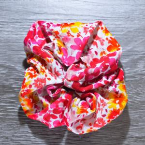 Chouchou cheveux - motif fleurs rose et rouge