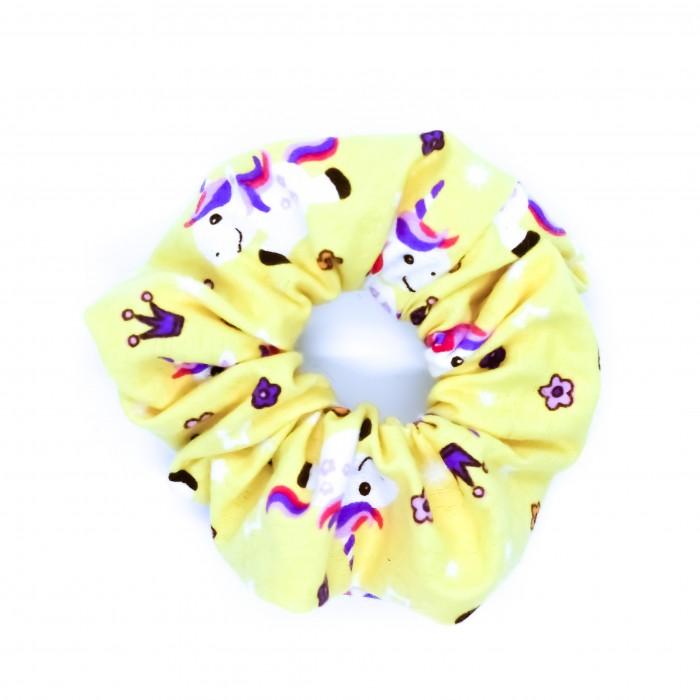 Chouchou cheveux - motif licornes jaune