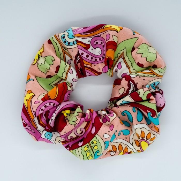Chouchou cheveux - motifs Paisley rose