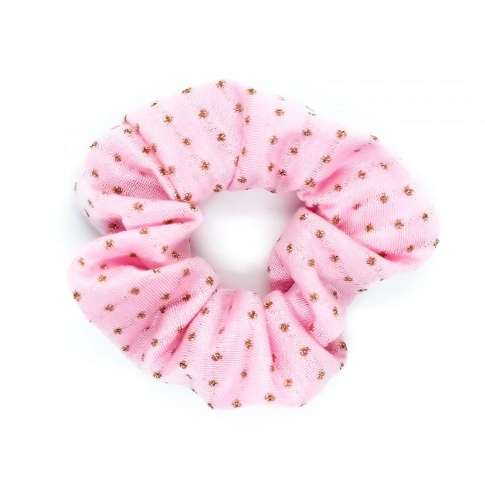 Chouchou cheveux - motif pois rose et or