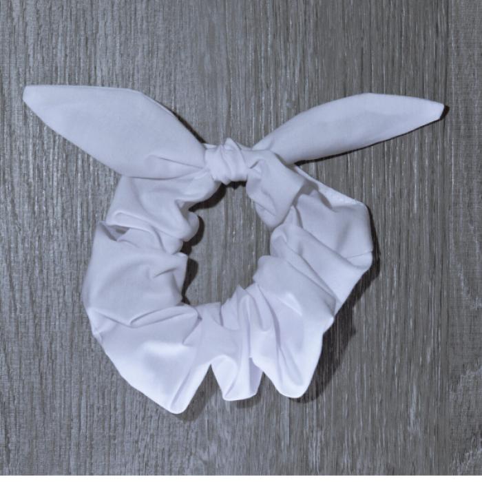 Chouchou cheveux - motif Uni blanc
