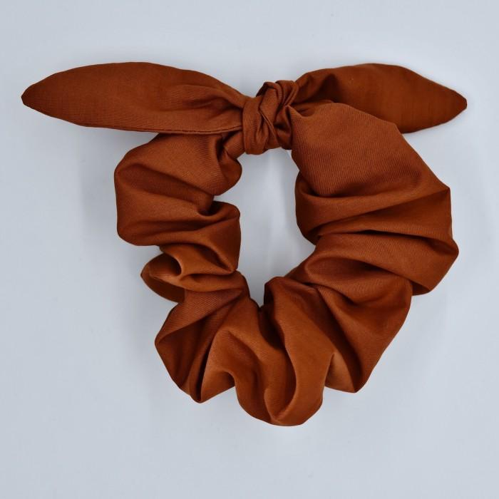 Chouchou cheveux - motif Uni brun rouille