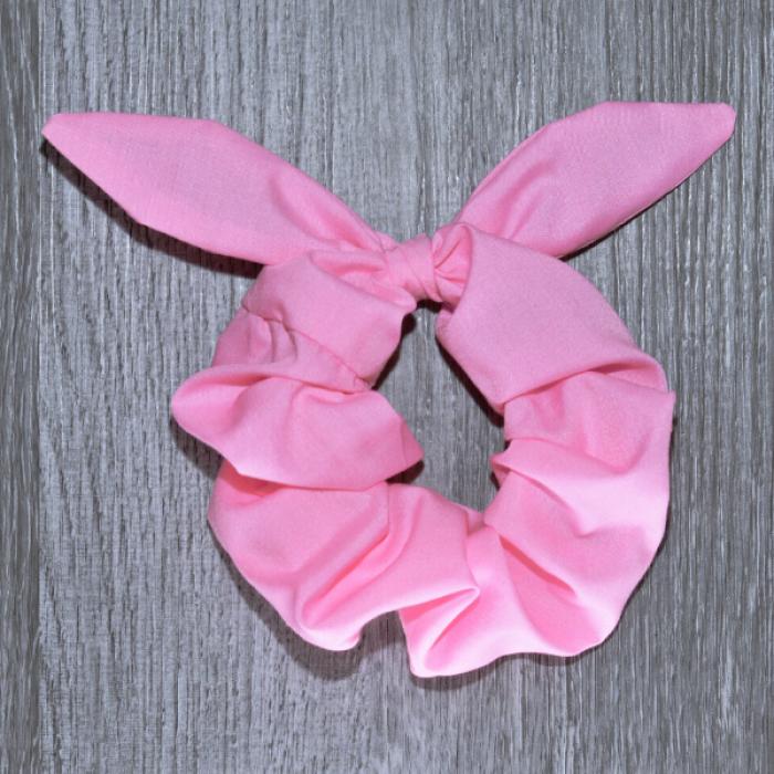 Chouchou cheveux - motif Uni rose