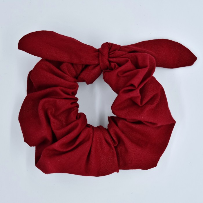 Chouchou cheveux - motif Uni rouge