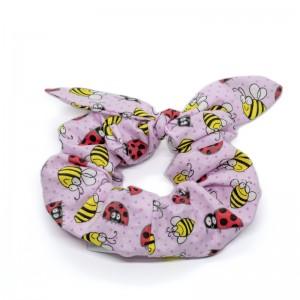 Chouchou cheveux - motif coccinelles rose