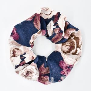 Chouchou cheveux - motif fleurs marine
