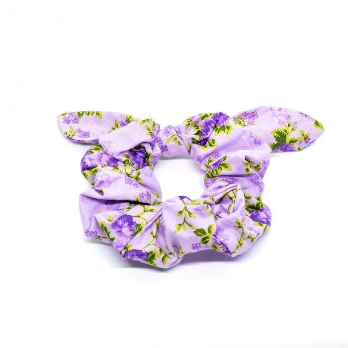 Chouchou cheveux - motif fleurs mauve