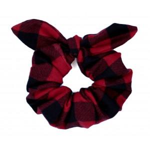 Chouchou cheveux - Flanelle à carreaux rouge et noir
