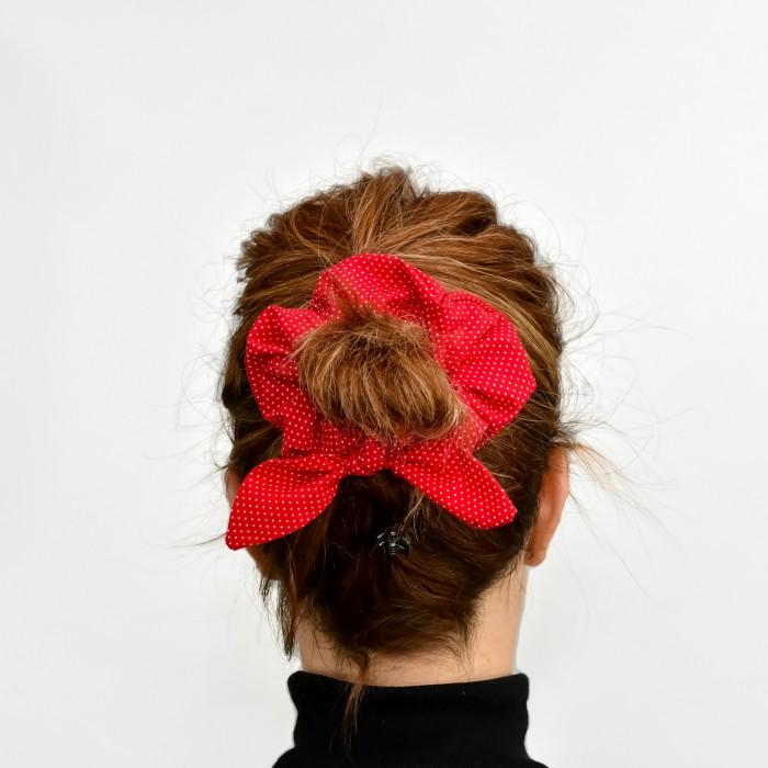 Chouchou  - pois rouge et blanc
