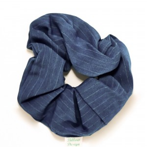 Chouchou cheveux - motif bleu jeans et blanc