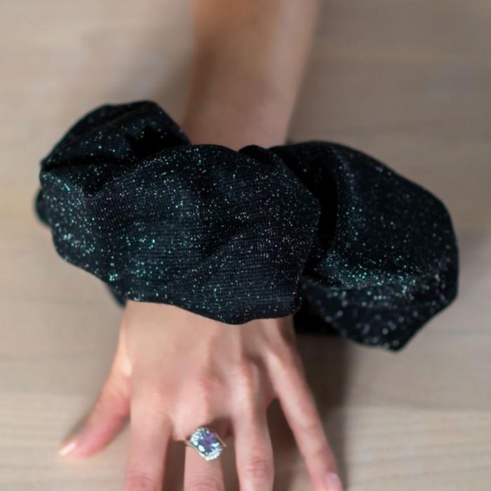 Chouchou XXL brillant noir argenté